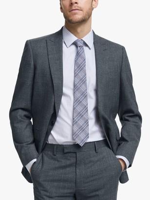 John Lewis & Partners Wool Silk Slub Herringbone Tailored Suit Jacket, Airforce Blue