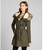 DKNY military green cotton canvas fur trimmed hooded trench with flap pockets
