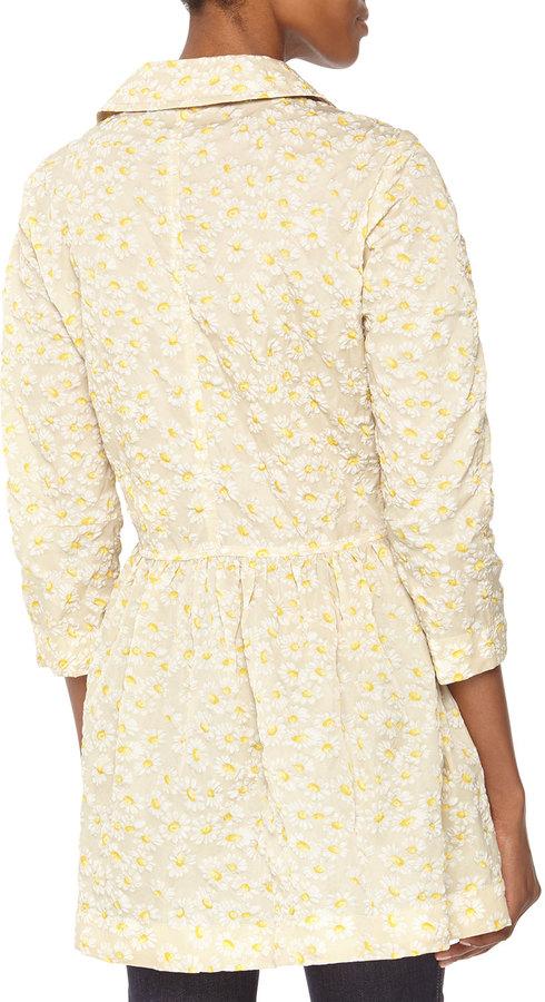 RED Valentino Daisy Water-Resistant Tech Coat, Cream