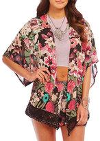 Coco + Jameson Lace-Trim Floral-Print Kimono