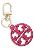 Tory Burch Perforated Leather Logo Keychain