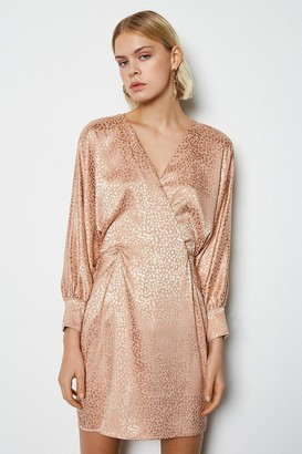Karen Millen Leopard Satin Jacquard Dress