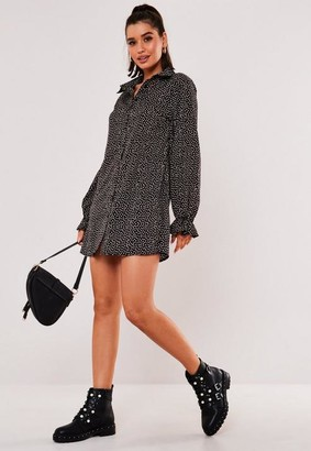 Missguided Black Sprinkle Print Frill Cuff Shirt Dress
