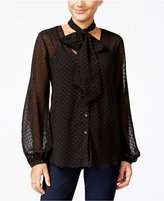 Jessica Simpson Cerena Printed Peasant Blouse with Scarf