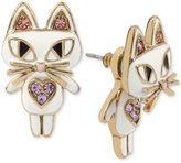 Betsey Johnson Gold-Tone White Enamel Cat Earring Jackets