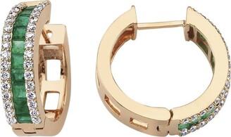 Bee Goddess Rose Gold And Emerald Mondrian Earrings