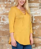 Celeste Mustard Lace-Up Curved-Hem Top - Plus