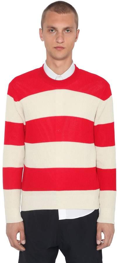 Ami Alexandre Mattiussi Striped Cotton Knit Sweater