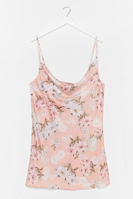 Nasty Gal Womens Plus Floral Satin Mini Dress - Pink