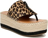 Franco Sarto Malia Espradrille Wedge Genuine Calf Hair Slide Sandal