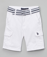 U.S. Polo Assn. White Belted Twill Cargo Shorts - Boys
