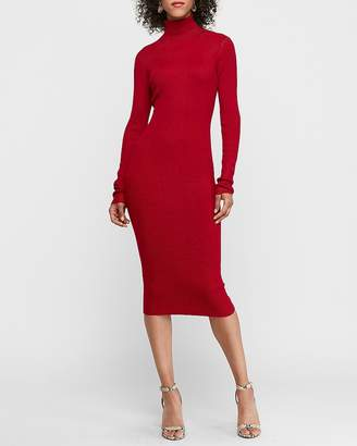 Express Ribbed Turtleneck Bodycon Sweater Dress