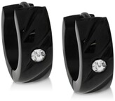 Thumbnail for your product : Sutton by Rhona Sutton Men's Black-Tone Stainless Steel & Cubic Zirconia Small Hoop Earrings s