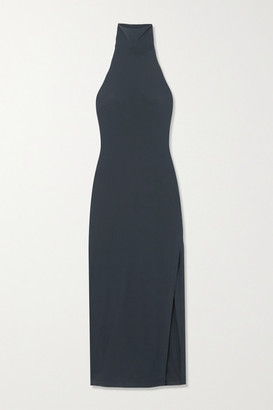 Norma Kamali Stretch-jersey Halterneck Maxi Dress - Blue