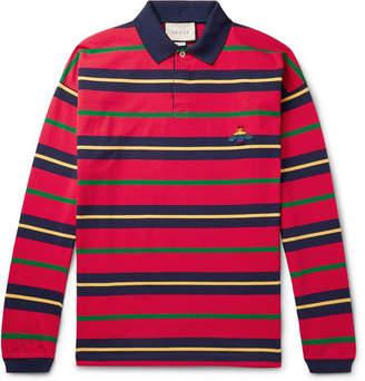 Gucci Appliqued Striped Cotton-Jersey Polo Shirt