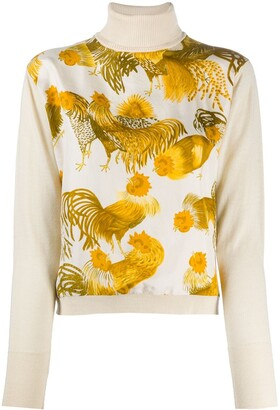 Hermes 2000s Pre-Owned Rooster Print Blouse