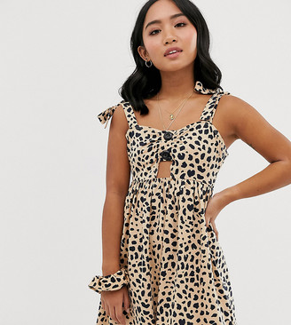 ASOS DESIGN Petite exclusive leopard print mini button front sundress with matching scrunchie