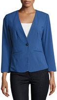 Kensie One-Button Long-Sleeve Blazer, Blue