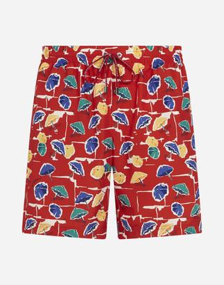 Dolce & Gabbana Medium Swimming Trunks With Parasol Print