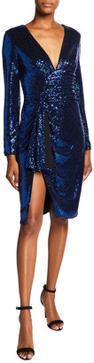 Aidan Mattox Asymmetric Side Draped Sequin Dress