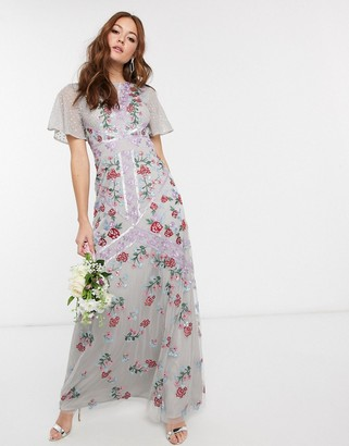 Maya Bridesmaid all over floral embellished fluted sleeve maxi dress in silver