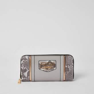 River Island Grey snake print blocked zip around purse