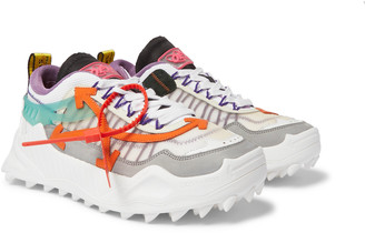 Off-White Odsy-1000 Suede, Mesh, Leather And Rubber Sneakers