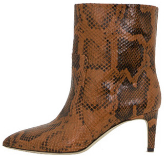 Paris Texas Python Print Seamed Ankle Boot in Cognac