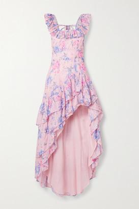 LoveShackFancy Winslow Asymmetric Ruffled Floral-print Cotton And Silk-blend Dress - Pink
