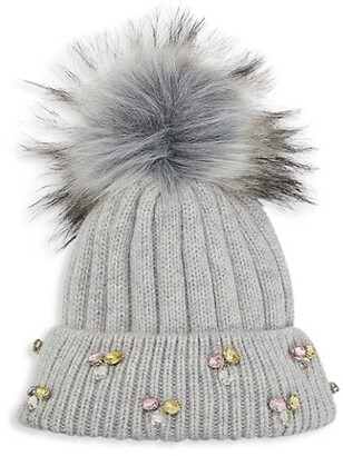 Jocelyn Jewels & Faux Fur Pom Knit Beanie