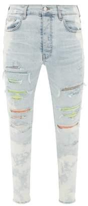 Amiri Crystal-embellished Cotton-blend Skinny-leg Jeans - Mens - Light Blue