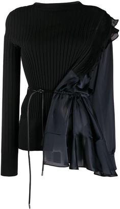 Sacai Asymmetric Long-Sleeve Blouse