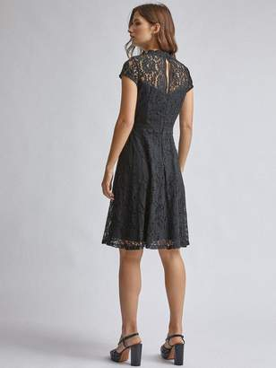Dorothy Perkins Lace Detail Fit And Flare Dress - Black