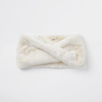 River Island Womens Cream faux fur twist snood scarf