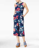 Crystal Doll Juniors' Floral-Print Gaucho Jumpsuit