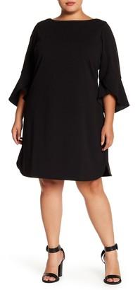 Vince Camuto Boatneck Tulip Sleeve Crepe Sheath Dress (Plus Size)