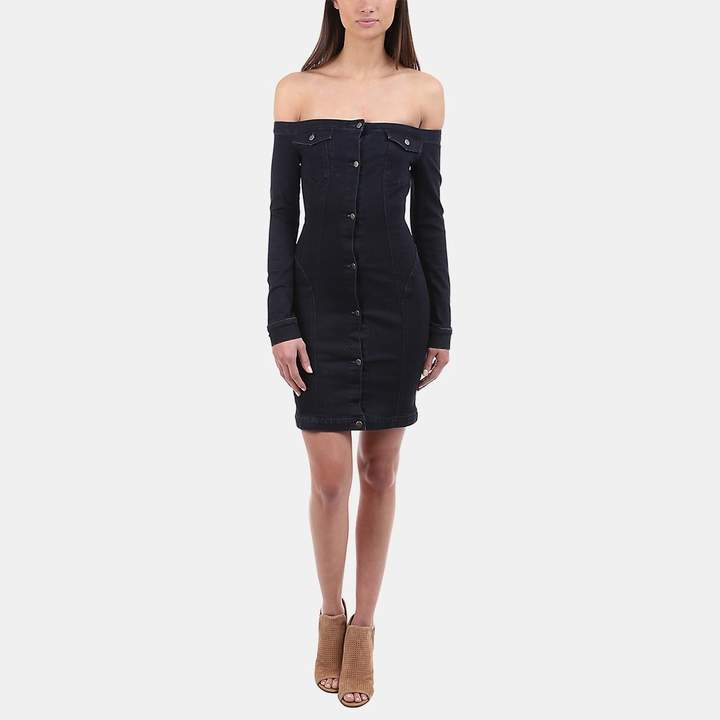 A.L.C. Mika Denim Off-the-Shoulder Button-Down Dress