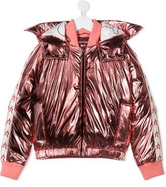 Perfect Moment Kids Star metallic-print jacket