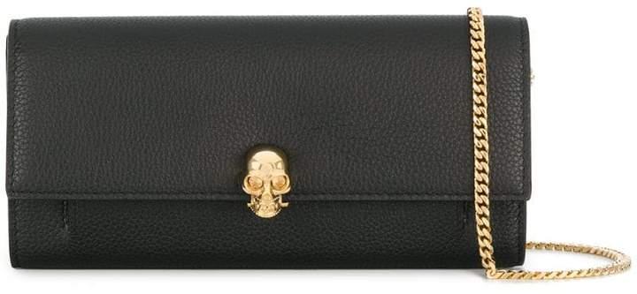 Alexander McQueen skull wallet chain clutch