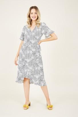 Yumi Grey Ditsy Animal Wrap Dress