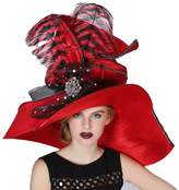June's Young Women Hats Large Brim Large Feather Church Party Fedoras