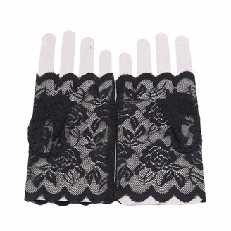 ZALING Women Lace Gloves Short Cute Fingerless Gloves Sunscreen Vintage Adult Girls Ladies Gloves Pink