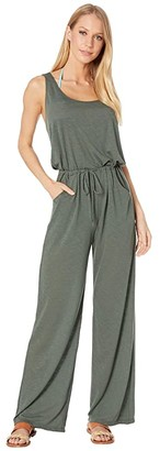 Becca by Rebecca Virtue Breezy Basics Twist Back Jumpsuit Cover-Up (Basil) Women's Swimsuits One Piece