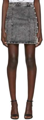 Balmain Black Denim High Waist Button Miniskirt