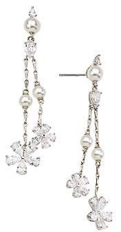 Nadri Nadi Ambrosia Cubic Zirconia & Imitation Pearl Flower Drop Earrings