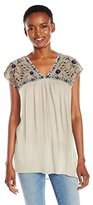 Lucky Brand Women's Sheer Yoke Embroidered Top