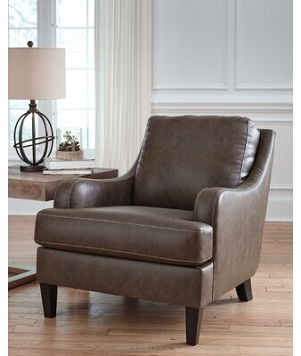 """Thumbnail for your product : Alcott Hill Aldrich 32"""" Wide Armchair Fabric: Dark Gray Faux Leather"""