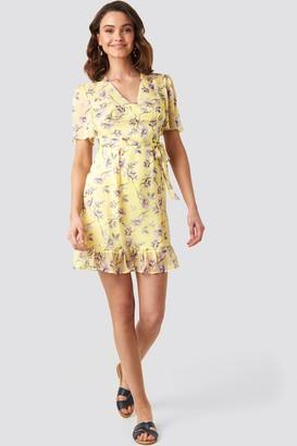 NA-KD Short Sleeve Print Chiffon Dress