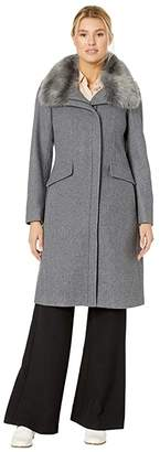 Vince Camuto Wool Coat with Faux Fur Collar V29778 (Med Grey) Women's Clothing