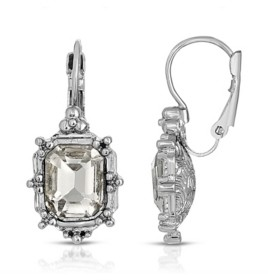 2028 Silver-Tone Crystal Square Drop Earrings